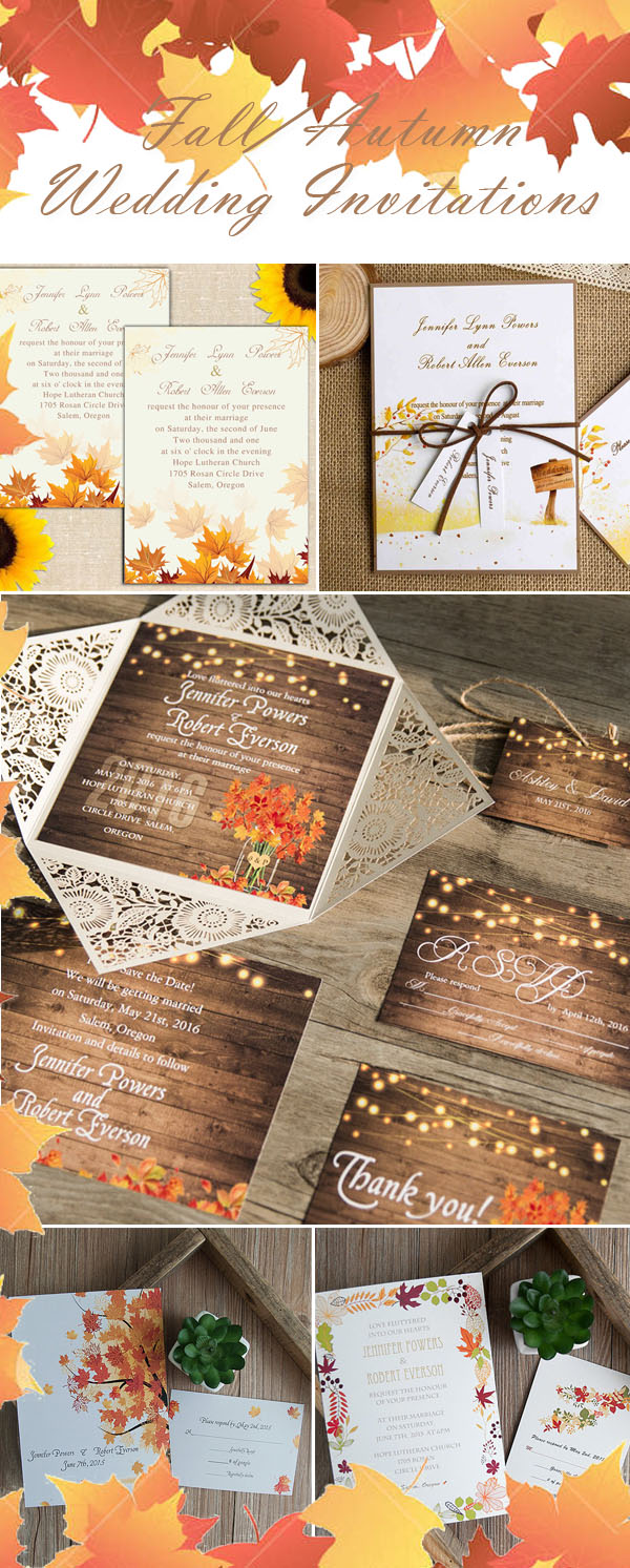maple leave fall wedding invitations collection