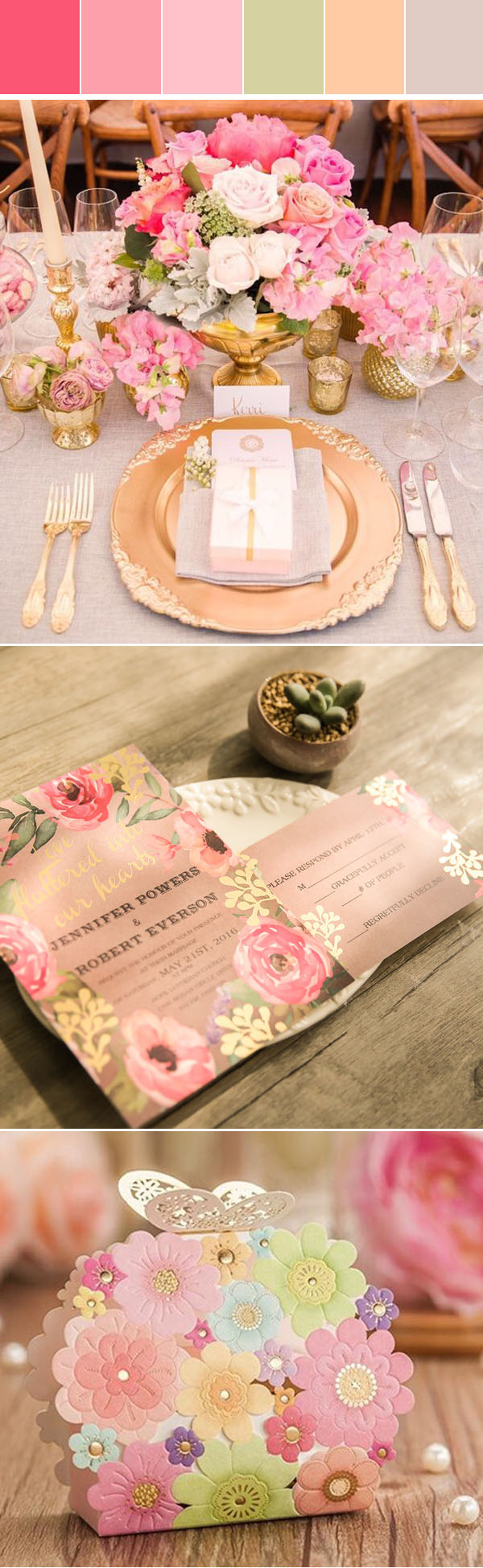 Five Pretty Summer Wedding Colors In shade of Gold with Matched Foil Invitations