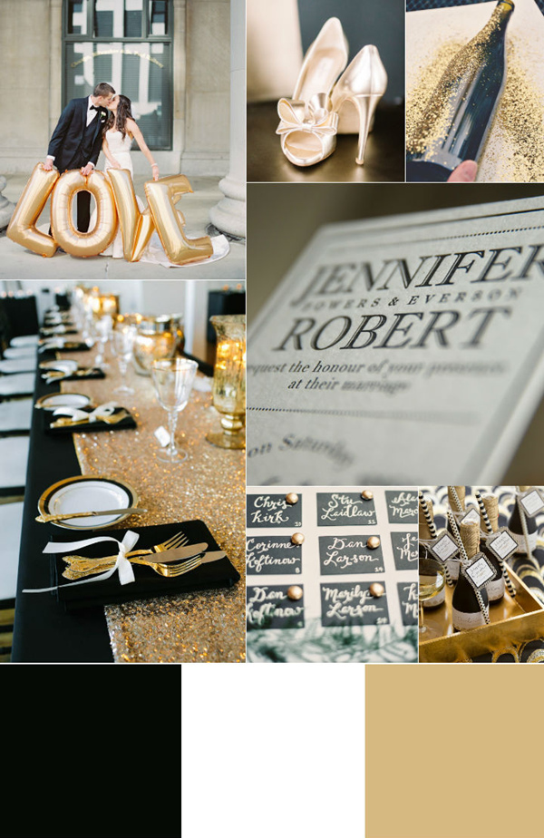 romantic black white and gold wedding color palette