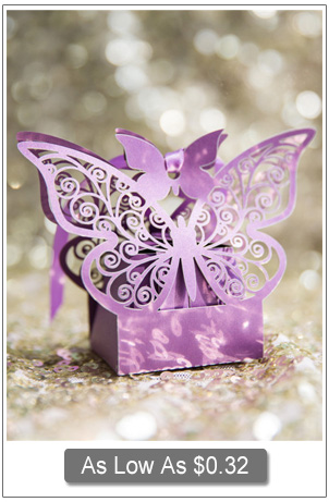 romantic puple laser cut butterfly themed wedding favor boxes