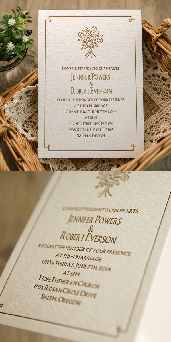 rustic brown bouquet letterpress wedding invitations
