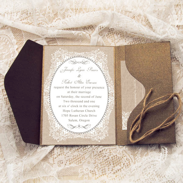 rustic burlap pocket wedding invitations with twines