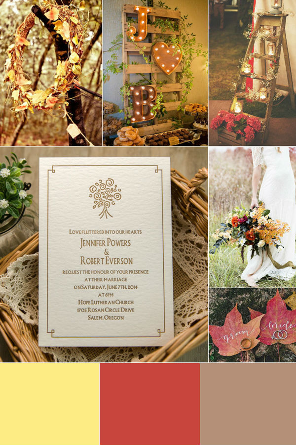 rustic fall yellow and brown wedding color insiration