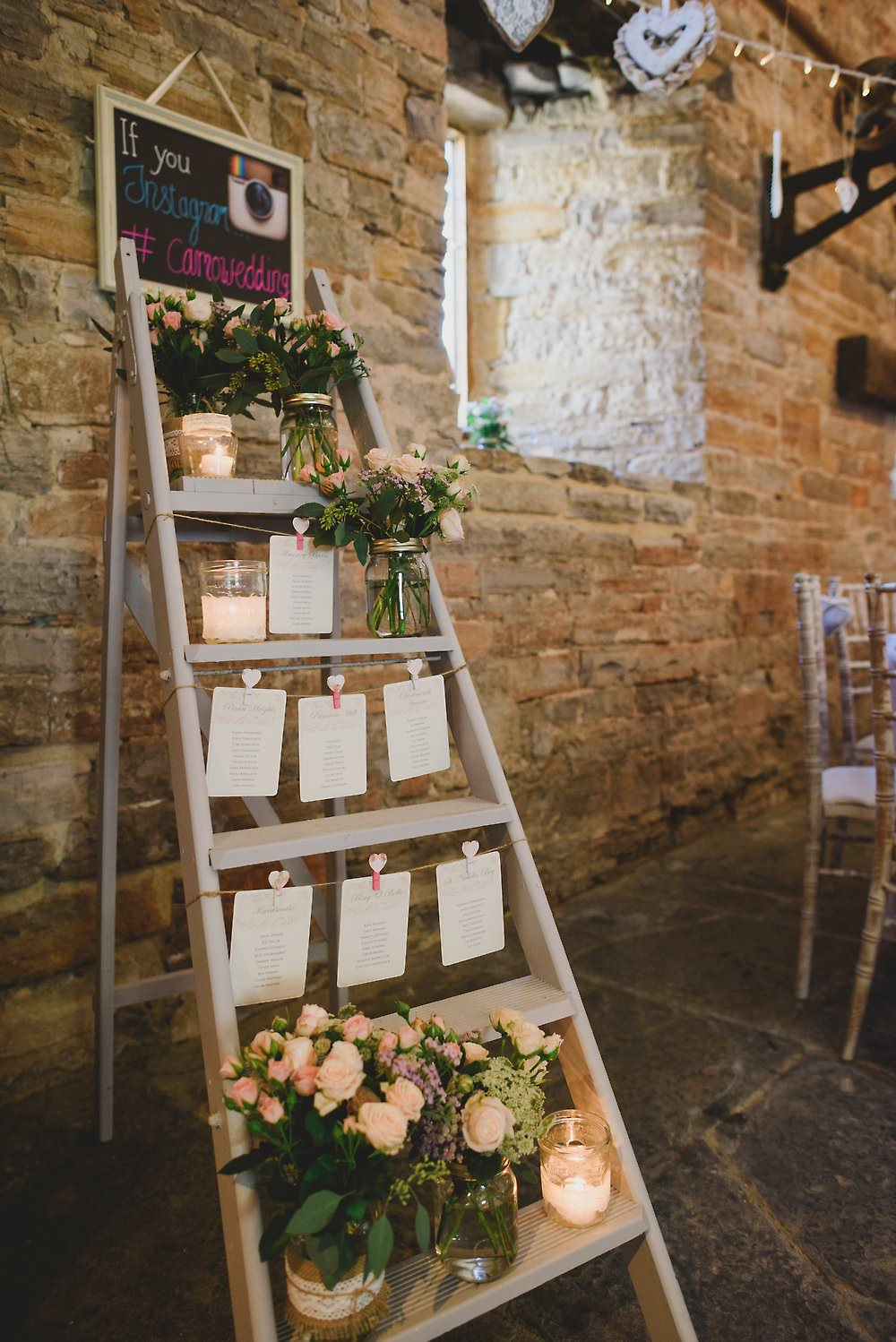 rustic ladder wedding table chart display ideas