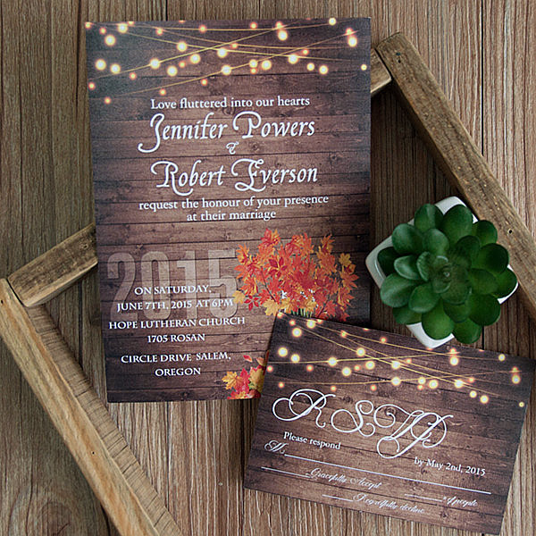 rustic wooden string light mason jar fall wedding invites