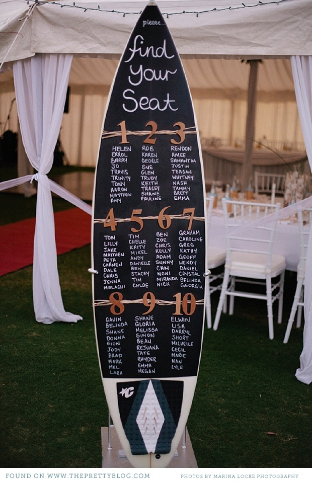 surf board seating chart for beach weddings
