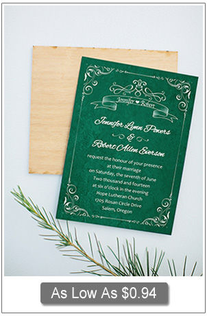 vintage emerald gren wedding invitation cards