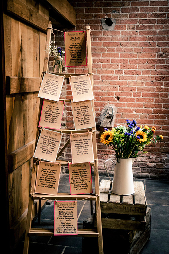 vintage ladder for your wedding seating chart display