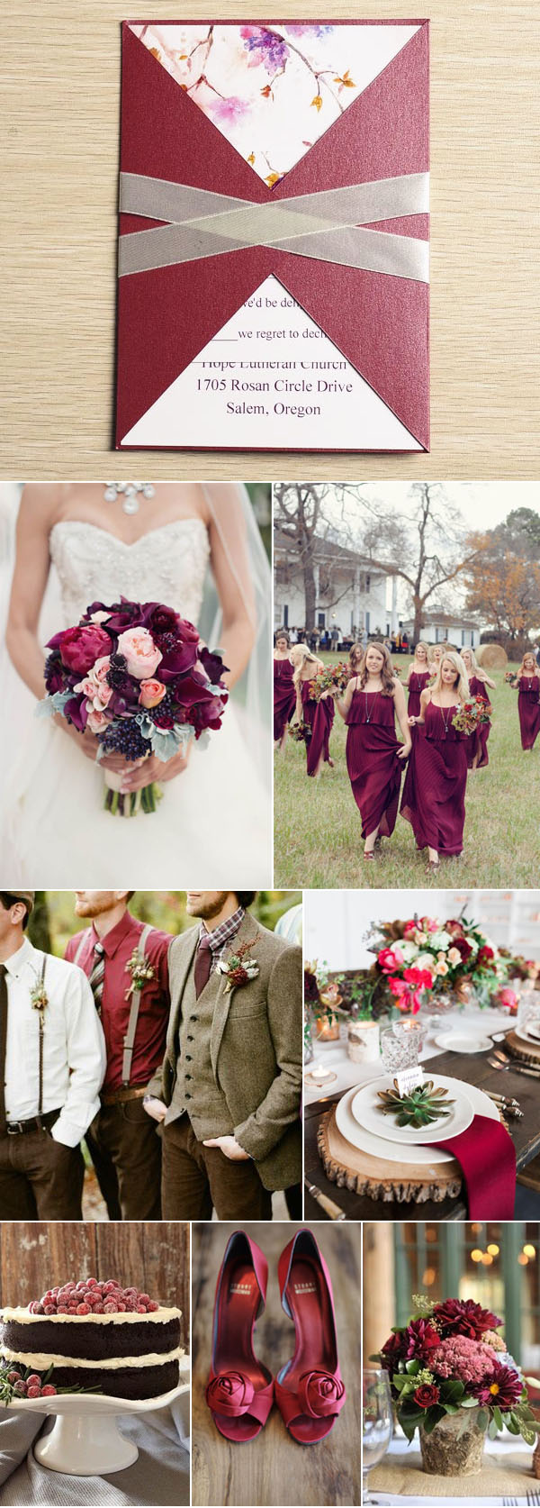 wine red fall wedding color ideas with gorgeous rustic invitations