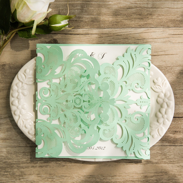 affordable mint green laser cut wedding invitations