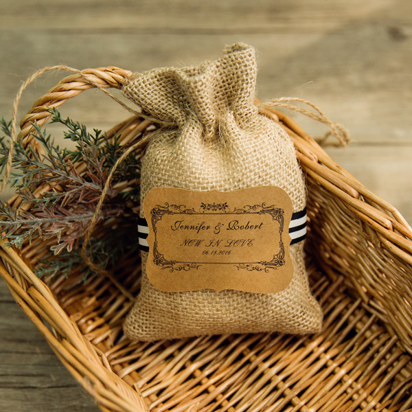 affordable rustic hessian favor bags