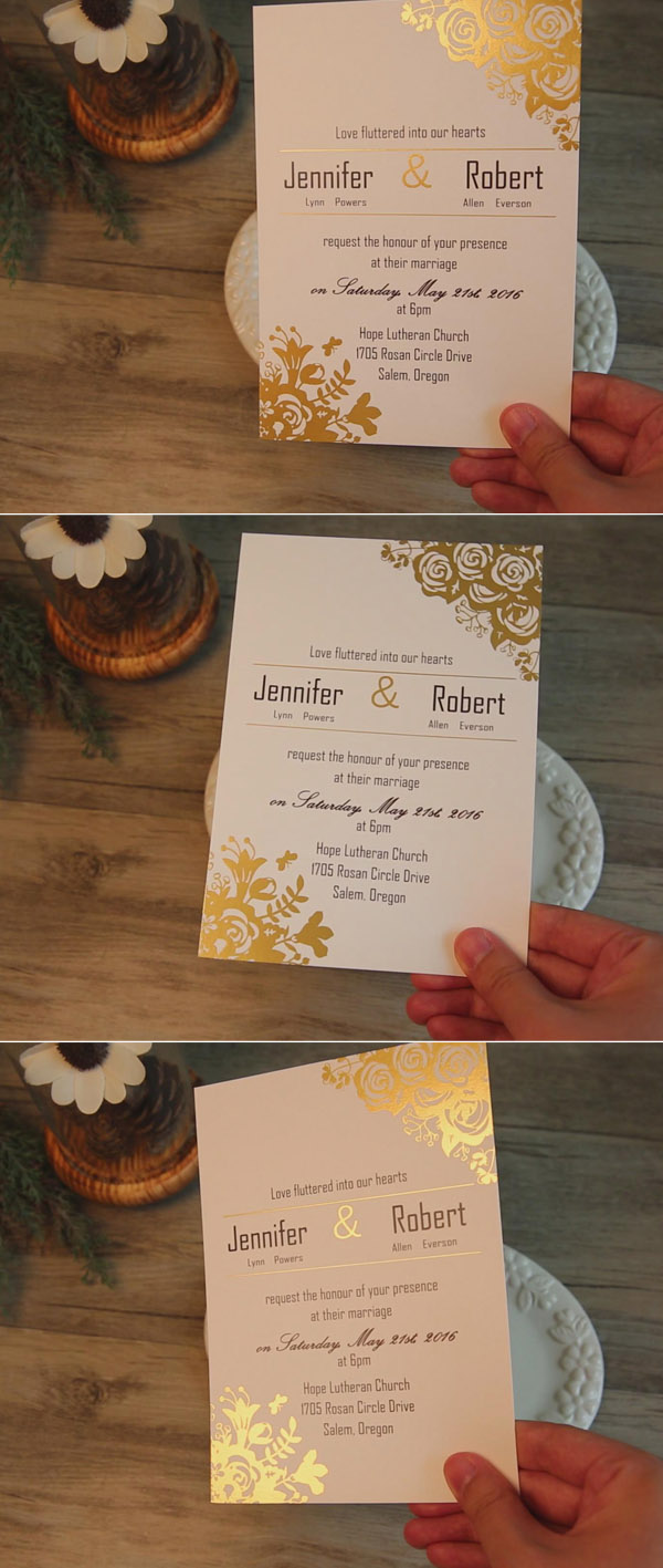 affordable traditional gold foil floral wedding invitation EWFI014