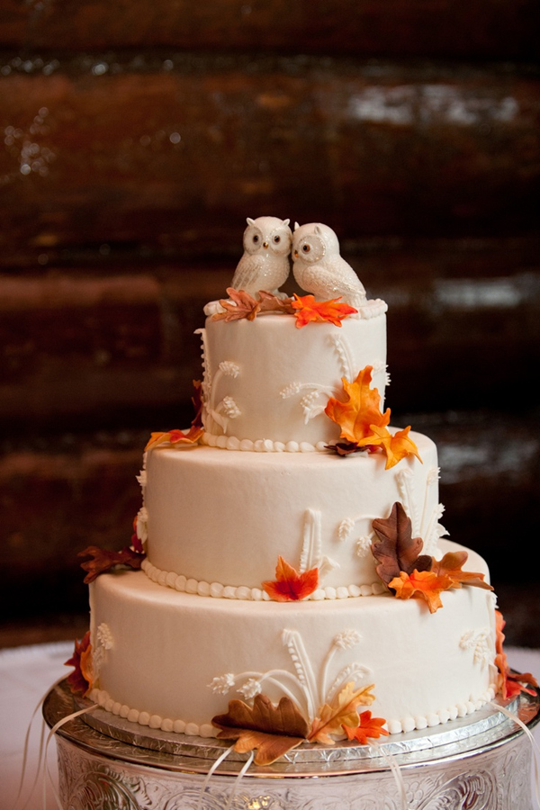 amazing autumn wedding cake with cute owl toppers