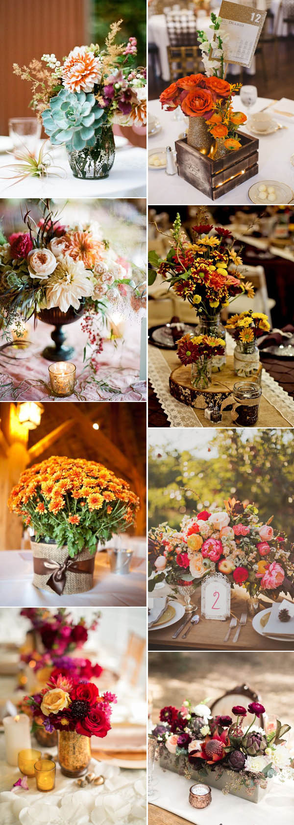 autumn and fall flower wedding centerpieces