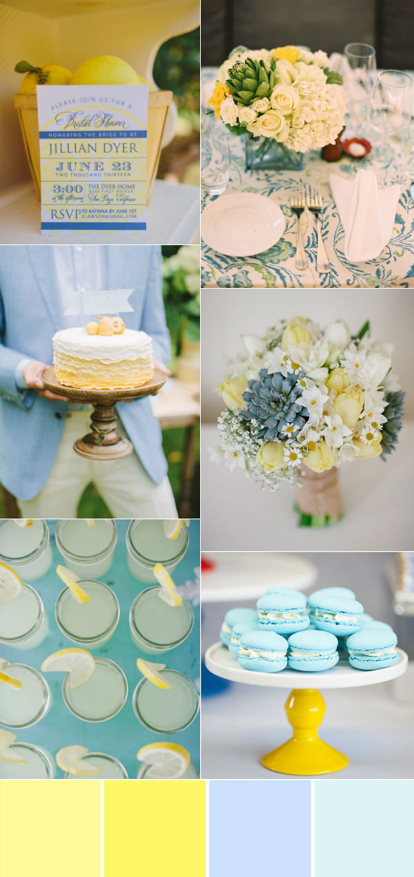 beautiful blue and yellow summer wedding color ideas