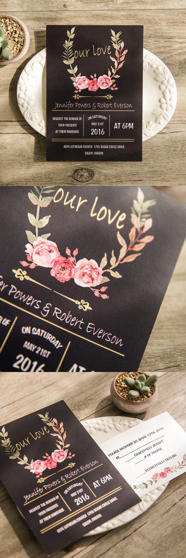 bohemian black floral gold foil our love wedding invitation