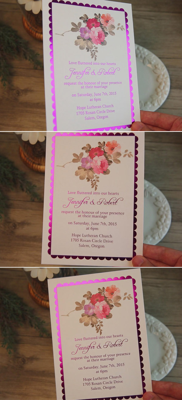 bohemian floral foil pressed wedding invitations EWFI003
