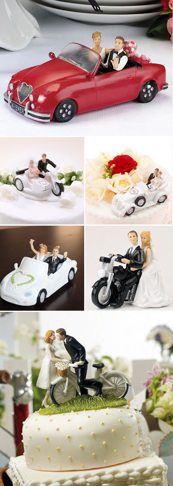 car, motorcycle and bicycle wedding cake topper ideas