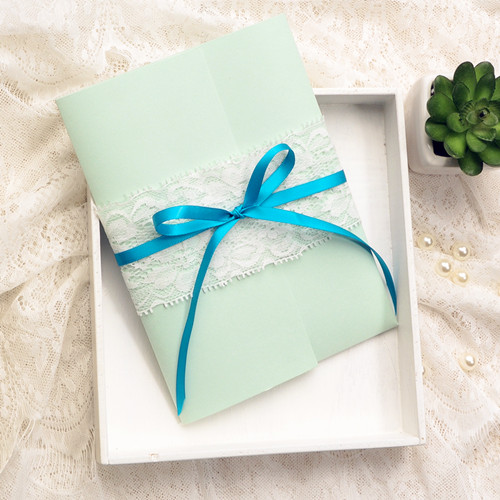 cheap mint green pocket spring wedding invitations