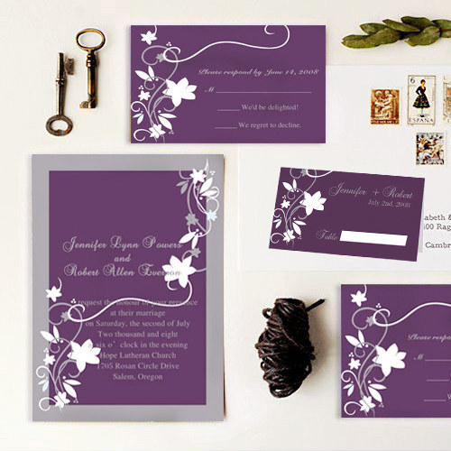 cheap rustic floral plum wedding invites and folded place cards