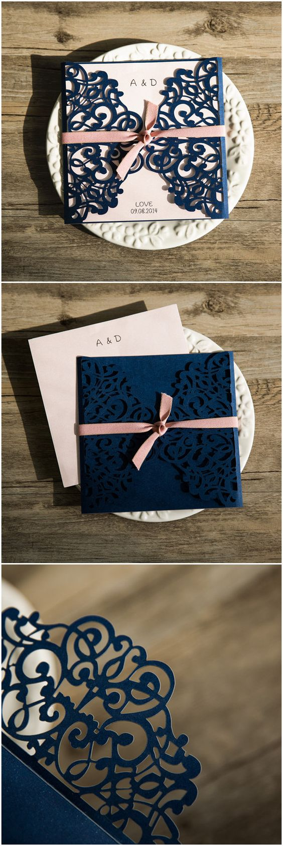classic navy blue and pink laser cut wedding invites