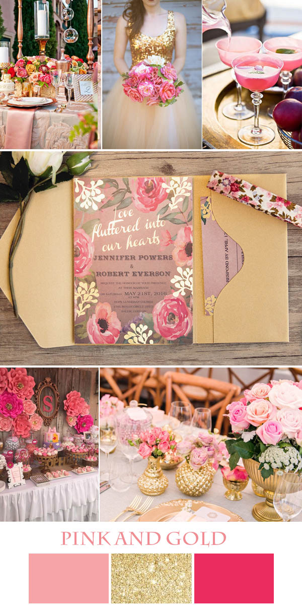 colorful pink and gold wedding ideas with floral foil invitations
