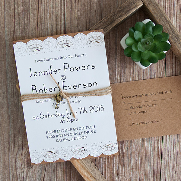 country graceful laser cut layered wedding invites with vintage keys