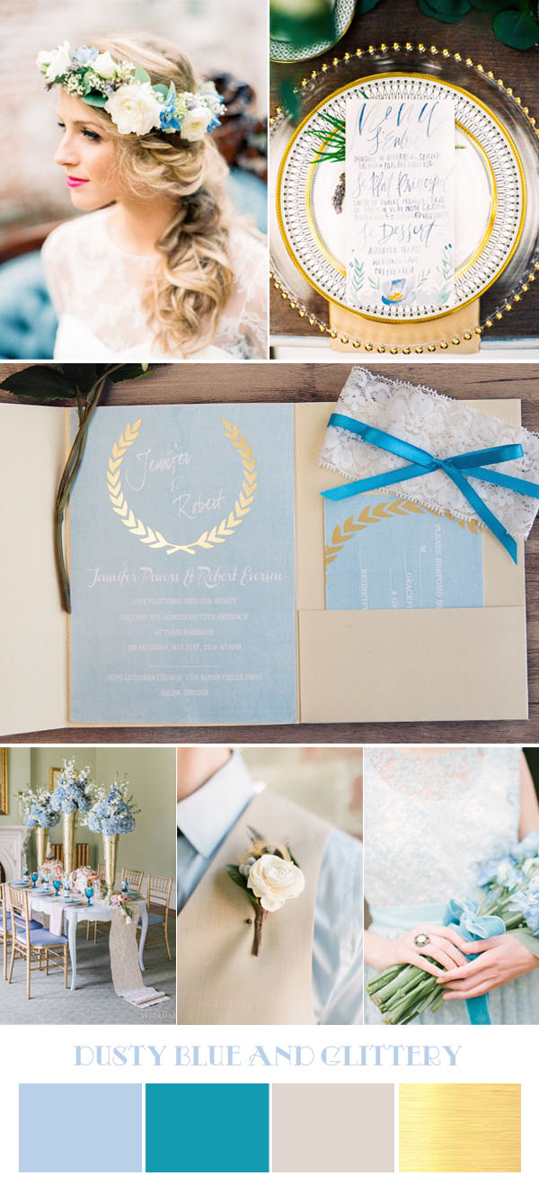 dusty blue and metallic wedding color ideas