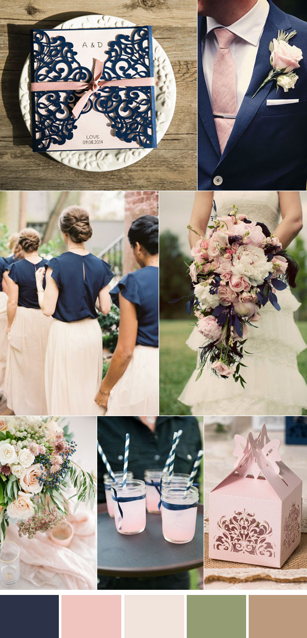 Navy and pink wedding wedding ideas for Navy blue wedding theme ideas
