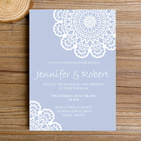 elegant pastel blue lace wedding invitations