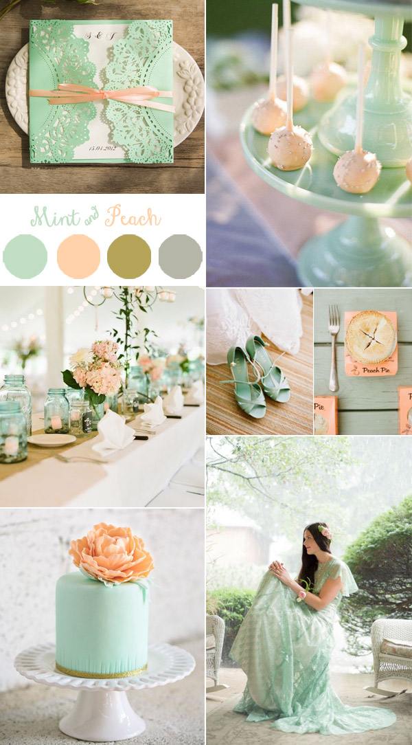 gorgeous mint and peach wedding colors with mint laser cut invitations-1