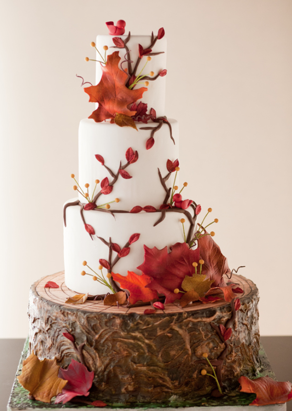 maple woodland inspired wedding cakes