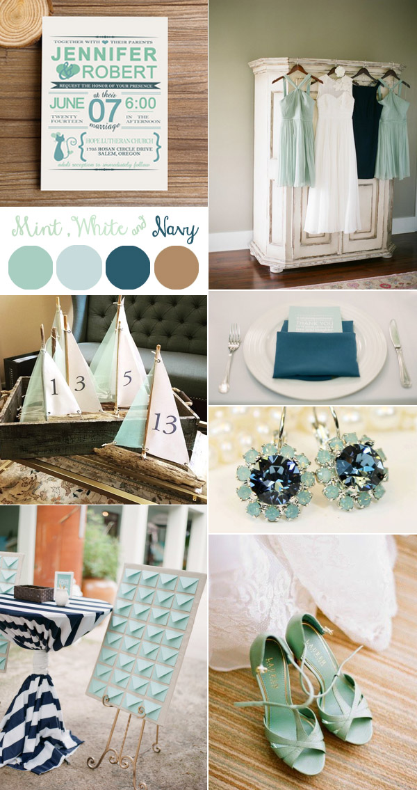 mint and navy nautical wedding color ideas