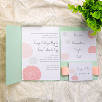 mint and peach ribbon pocket dandelion wedding invitation
