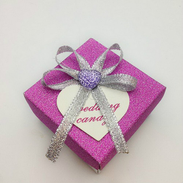 purple bling bling silver bow wedding favor box
