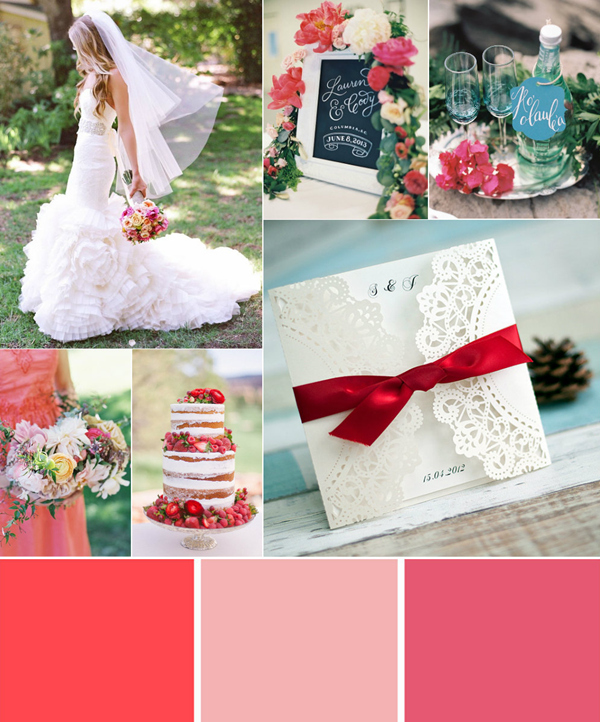 romantic coral garden wedding color ideas
