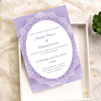 romantic lavender lace watercolor wedding invitation