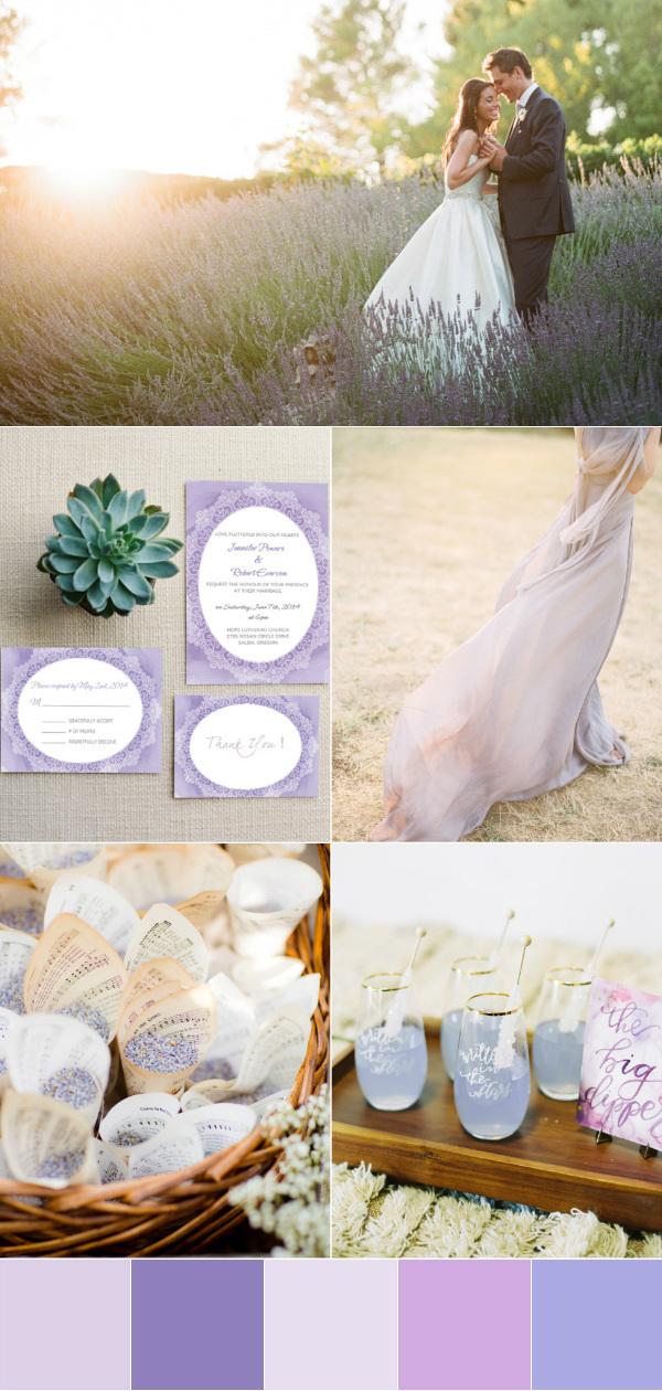 romantic lavender wedding color palettes
