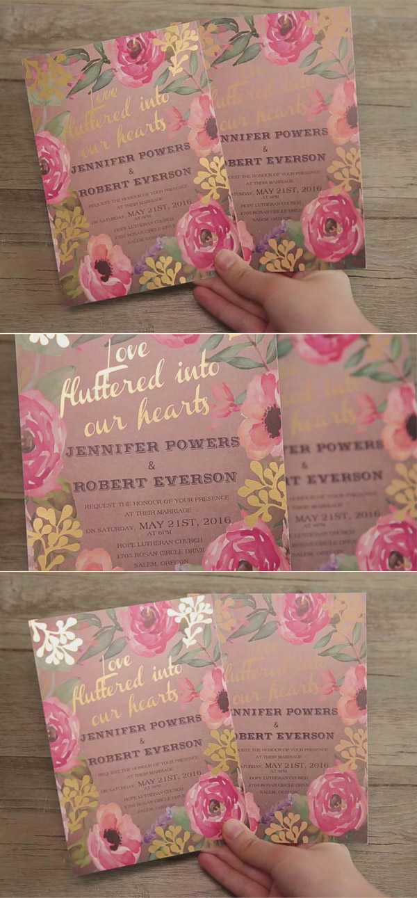romantic rustic pink floral spring gold foil wedding invitations EWFI016