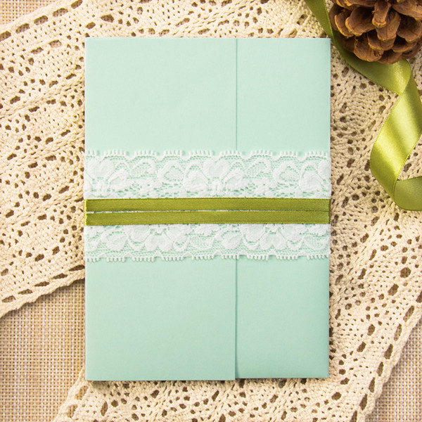 spring mint and lime pocket wedding invitation