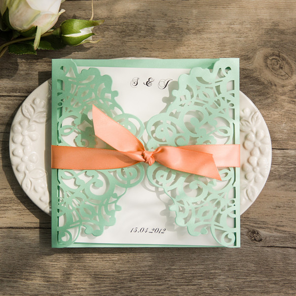 spring mint and peach laser cut wedding invites