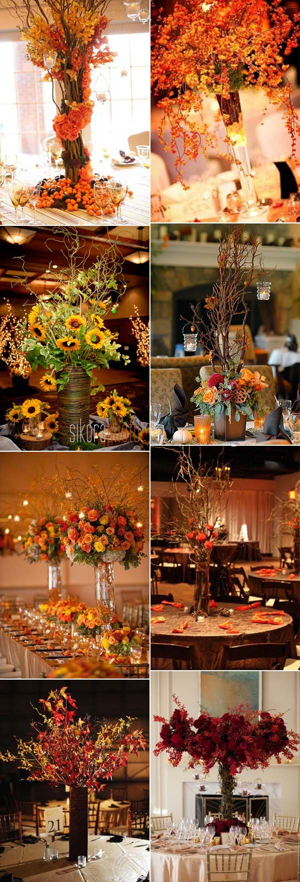 tall fall wedding centerpieces ideas