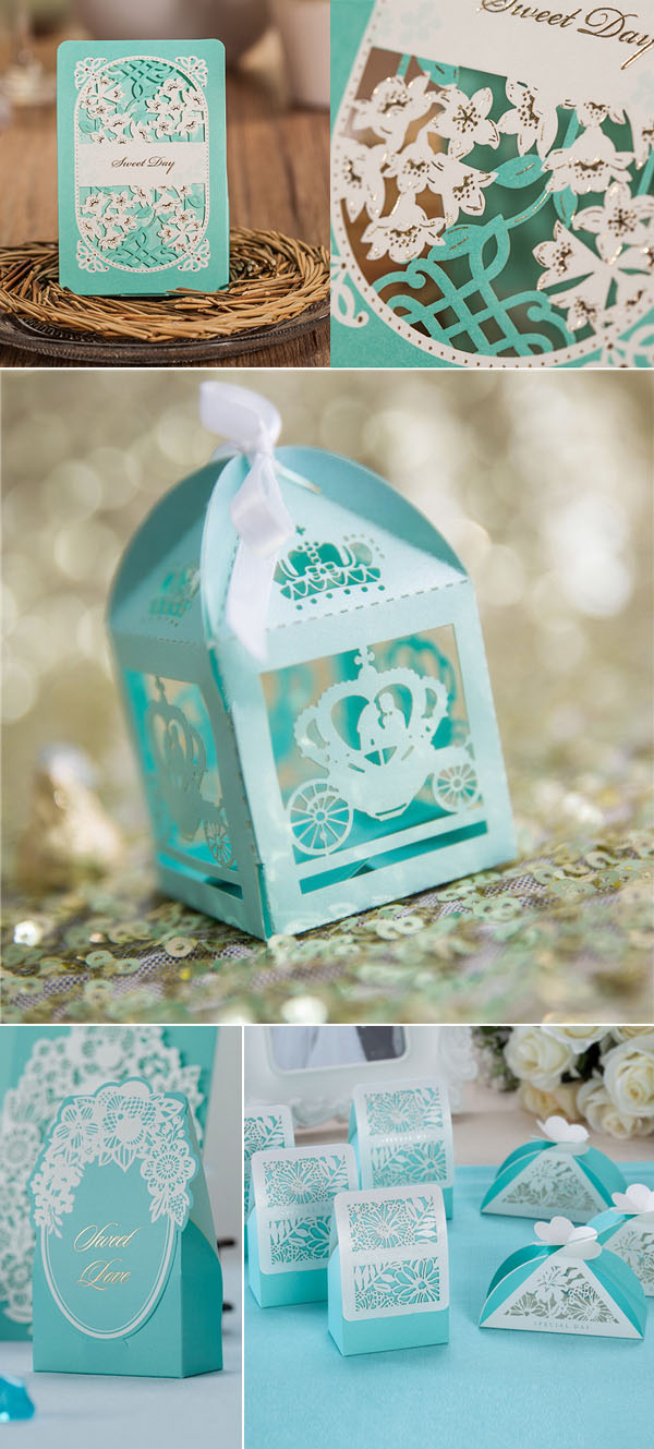 tiffany blue laser cut wedding favor bags