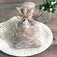 vintage lace wedding favor bag burlap linen bridal shower sachet EWFB064