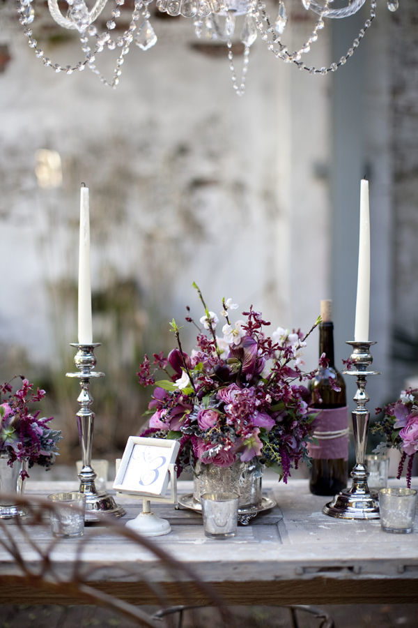 vintage silver and purple wedding centerpieces