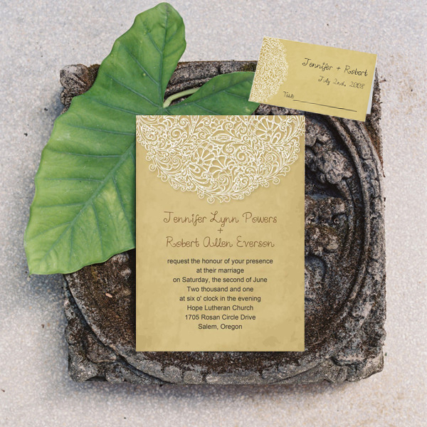 vintage yellow lace wedding invitations and folded place cards