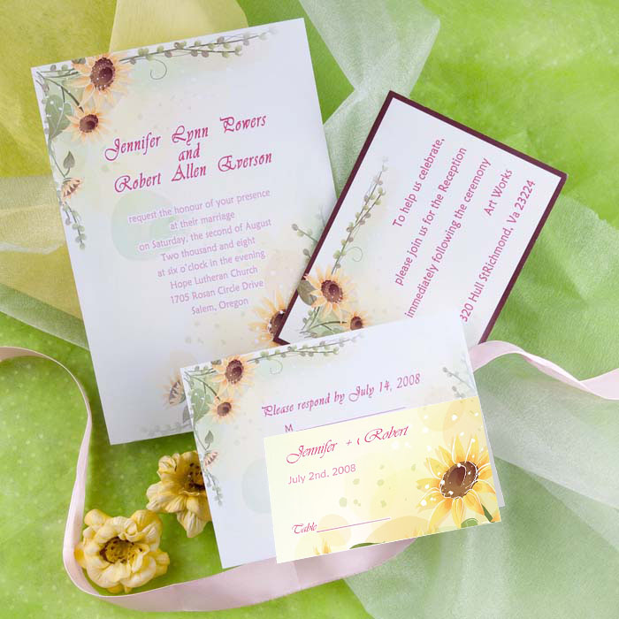 yellow sunflower wedding invitation with folded place cards