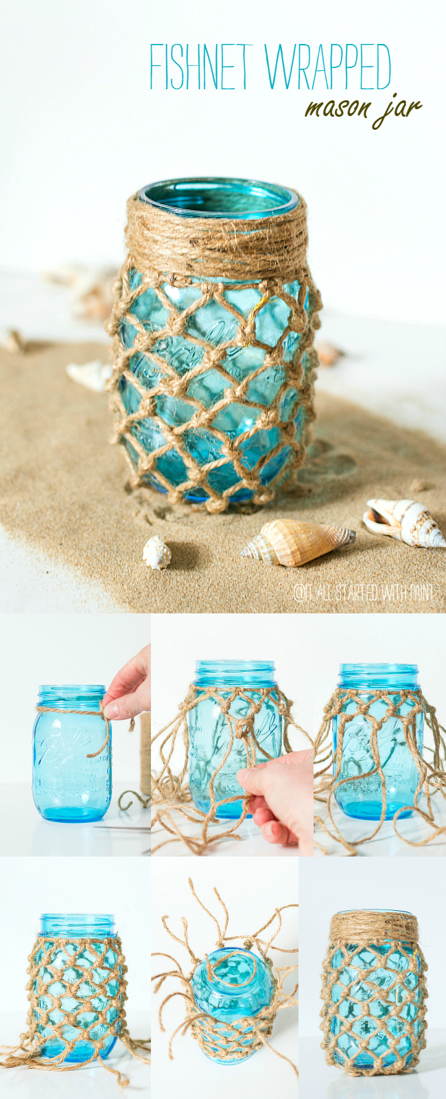 DIY fishnet wrapped beach wedding mason jars