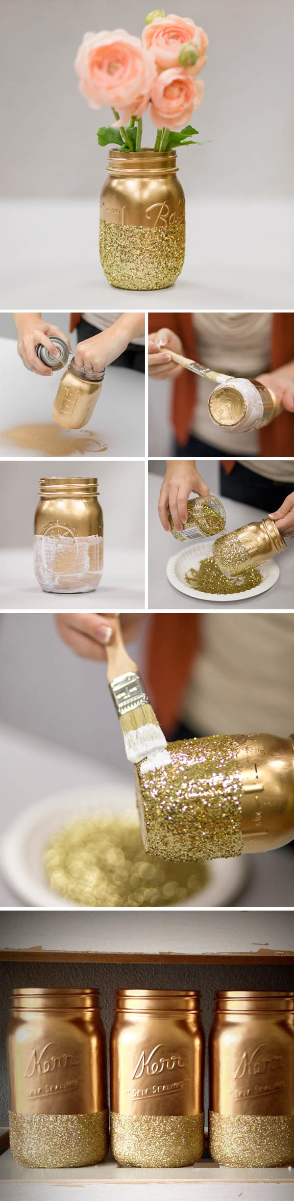 Mason Jar Diy Part - 34: DIY Glitter Gold Mason Jar Vase For Weddings