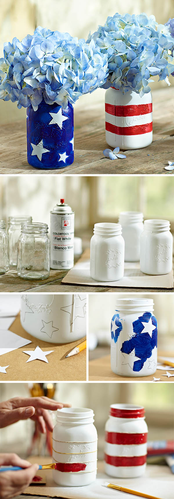 DIY stars and stripe 4TH OF JULY wedding mason jars